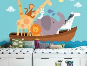 Βάρκα με ζωάκια Παιδικά Ταπετσαρίες Τοίχου 85 x 125 cm