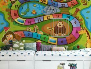 Παιχνίδι ζωολογικός κήπος Παιδικά Ταπετσαρίες Τοίχου 85 x 120 cm