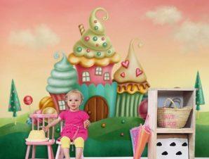 Καραμελόσπιτo Παιδικά Ταπετσαρίες Τοίχου 90 x 120 cm