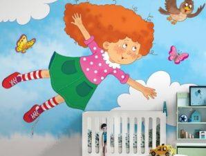 Χαριτωμένο κορίτσι Παιδικά Ταπετσαρίες Τοίχου 85 x 120 cm