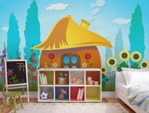 Στρουμφόσπιτο σε εξοχή Παιδικά Ταπετσαρίες Τοίχου 90 x 120 cm