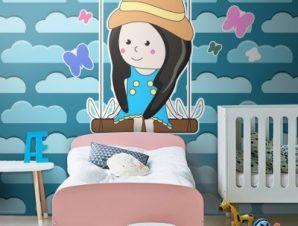 Κοριτσάκι σε κούνια Παιδικά Ταπετσαρίες Τοίχου 100 x 100 cm