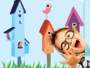 Χαρούμενα πουλάκια Παιδικά Ταπετσαρίες Τοίχου 100 x 100 cm