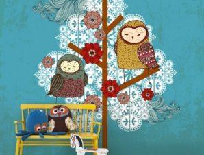 Κουκουβάγιες και δέντρα Παιδικά Ταπετσαρίες Τοίχου 118 x 84 cm