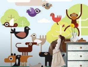 Ζώα της ζούγκλας Παιδικά Ταπετσαρίες Τοίχου 100 x 100 cm