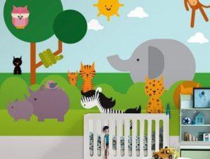 Zωάκια Παιδικά Ταπετσαρίες Τοίχου 87 x 115 cm