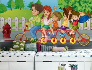 Παιδάκια Με Ποδήλατο Παιδικά Ταπετσαρίες Τοίχου 93 x 108 cm