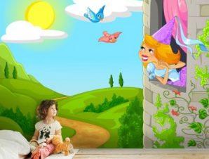 Πριγκίπισσα στο Κάστρο Παιδικά Ταπετσαρίες Τοίχου 88 x 114 cm