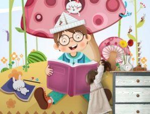 Ώρα για διάβασμα Παιδικά Ταπετσαρίες Τοίχου 110 x 92 cm