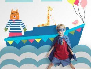 Αρκούδος πειρατής Παιδικά Ταπετσαρίες Τοίχου 100 x 100 cm