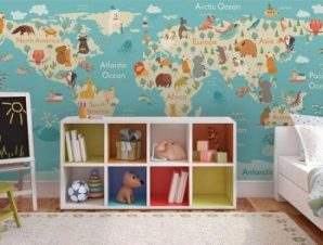 Παγκόσμιος Χάρτης με Ζώα Παιδικά Ταπετσαρίες Τοίχου 69 x 145 cm