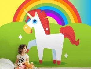 Μονόκερος σε ουράνιο τόξο Παιδικά Ταπετσαρίες Τοίχου 100 x 100 cm