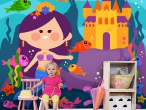 Μικρή χαρούμενη γοργόνα Παιδικά Ταπετσαρίες Τοίχου 100 x 100 cm