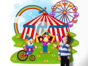Kλόουν και Tσίρκο Παιδικά Ταπετσαρίες Τοίχου 100 x 100 cm
