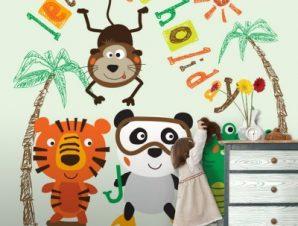 Ζωάκια σε διακοπές Παιδικά Ταπετσαρίες Τοίχου 100 x 100 cm