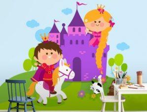 Κάστρο με πρίγκιπα και πριγκίπισσα Παιδικά Ταπετσαρίες Τοίχου 94 x 100 cm