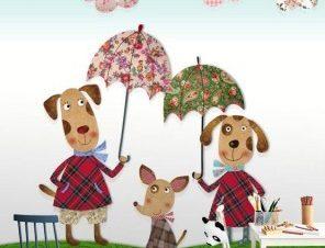 Οικογένεια σκύλων Παιδικά Ταπετσαρίες Τοίχου 110 x 92 cm