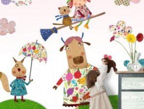 Αγελάδα και μάγισσα Παιδικά Ταπετσαρίες Τοίχου 106 x 94 cm