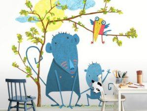 Μπλέ μαϊμουδάκια Παιδικά Ταπετσαρίες Τοίχου 100 x 100 cm