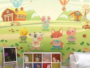 Φάρμα ζώων με αερόστατα Παιδικά Ταπετσαρίες Τοίχου 85 x 110 cm