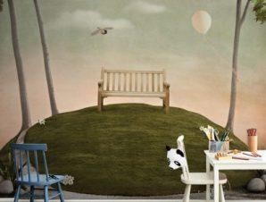 Παραμυθένιο τοπίο με παγκάκι Παιδικά Ταπετσαρίες Τοίχου 90 x 110 cm