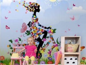 Κορίτσι με ποδήλατο στην εξοχή Παιδικά Ταπετσαρίες Τοίχου 100 x 100 cm