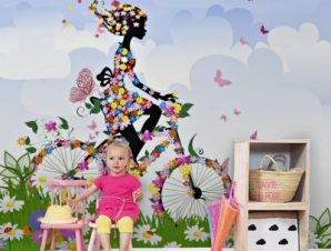 Κορίτσι με λουλούδια σε ποδήλατο Παιδικά Ταπετσαρίες Τοίχου 100 x 100 cm