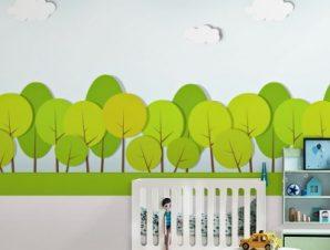Πράσινα στρογγυλά δέντρα Παιδικά Ταπετσαρίες Τοίχου 100 x 100 cm