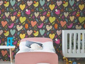 Πουλάκια και καρδούλες Παιδικά Ταπετσαρίες Τοίχου 100 x 100 cm
