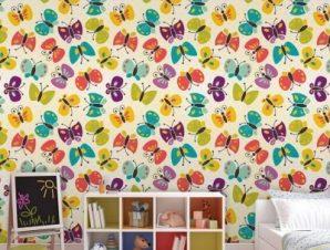Μοτίβο με πεταλούδες Παιδικά Ταπετσαρίες Τοίχου 100 x 100 cm