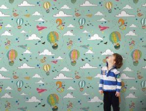 Αερόστατα και συννεφάκια Παιδικά Ταπετσαρίες Τοίχου 100 x 100 cm