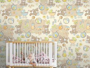 Μωρά αρκουδάκια Παιδικά Ταπετσαρίες Τοίχου 100 x 100 cm