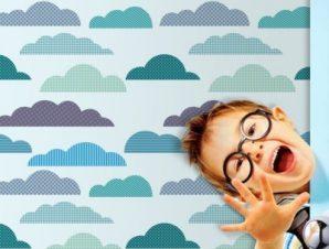 Συννεφάκια Παιδικά Ταπετσαρίες Τοίχου 100 x 100 cm