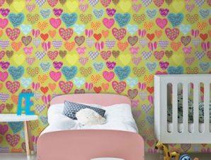 Πολύχρωμες καρδούλες Παιδικά Ταπετσαρίες Τοίχου 100 x 100 cm