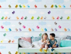 Πολύχρωμα πουλιά σε σχοινιά Παιδικά Ταπετσαρίες Τοίχου 117 x 90 cm