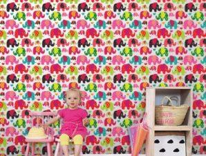 Χαρούμενα Ελεφαντάκια Παιδικά Ταπετσαρίες Τοίχου 100 x 100 cm