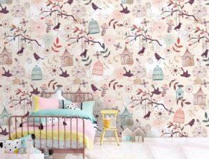 Μοτίβο με πουλιά Παιδικά Ταπετσαρίες Τοίχου 100 x 100 cm