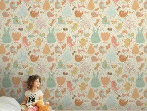 Πουλάκια και λαγουδάκι Παιδικά Ταπετσαρίες Τοίχου 100 x 100 cm