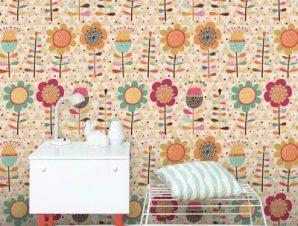 Πολύχρωμο λουλουδένιο μοτίβο Παιδικά Ταπετσαρίες Τοίχου 100 x 100 cm
