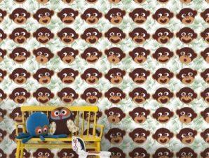 Μοτίβο με μαϊμούδες Παιδικά Ταπετσαρίες Τοίχου 92 x 110 cm