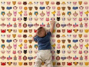 Μοτίβο με ζώα Παιδικά Ταπετσαρίες Τοίχου 100 x 100 cm
