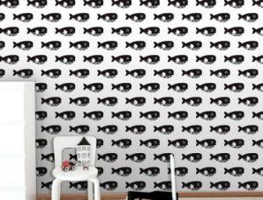 Μαύρη Φάλαινα Παιδικά Ταπετσαρίες Τοίχου 100 x 100 cm