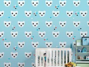 Πολική αρκούδα Παιδικά Ταπετσαρίες Τοίχου 100 x 100 cm