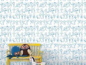 Σκίτσα ανθρωπάκια Παιδικά Ταπετσαρίες Τοίχου 100 x 100 cm