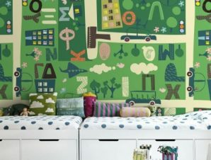 Πράσινο παιδικό φόντο Παιδικά Ταπετσαρίες Τοίχου 100 x 100 cm