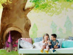 Δέντρο με τρύπα Παιδικά Ταπετσαρίες Τοίχου 86 x 115 cm