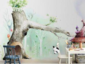 Παστέλ σπιτάκια Παιδικά Ταπετσαρίες Τοίχου 86 x 115 cm