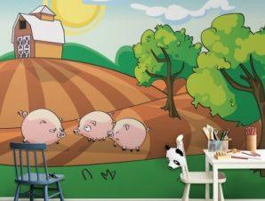 Γουρουνάκια στη φάρμα Παιδικά Ταπετσαρίες Τοίχου 93 x 115 cm