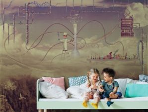 Εργαστήριο στον ουρανό Παιδικά Ταπετσαρίες Τοίχου 100 x 100 cm