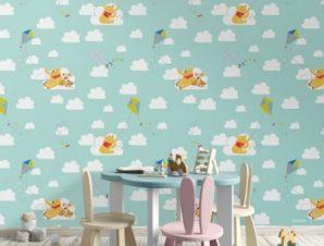 Ο Winnie the pooh πετάει χαρταετό! Παιδικά Ταπετσαρίες Τοίχου 100 x 100 cm